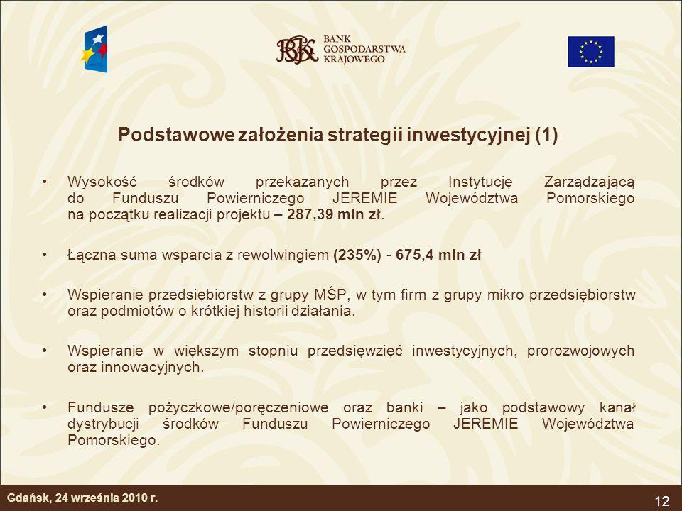 12 Podstawowe założenia strategii inwestycyjnej (1) Wysokość środków przekazanych przez Instytucję Zarządzającą do Funduszu Powierniczego JEREMIE Woje
