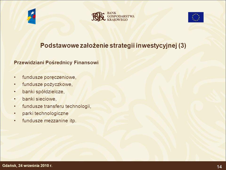 14 Podstawowe założenie strategii inwestycyjnej (3) Przewidziani Pośrednicy Finansowi fundusze poręczeniowe, fundusze pożyczkowe, banki spółdzielcze,
