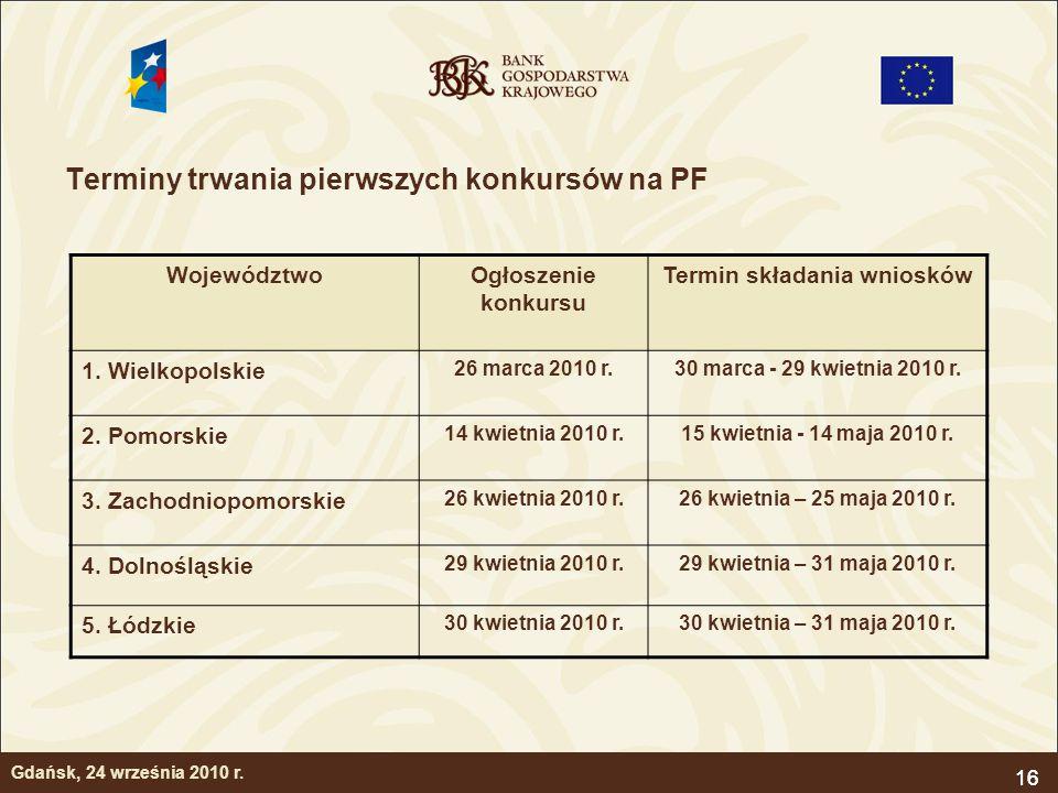16 Terminy trwania pierwszych konkursów na PF 16 WojewództwoOgłoszenie konkursu Termin składania wniosków 1. Wielkopolskie 26 marca 2010 r.30 marca -