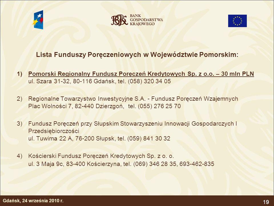19 Gdańsk, 24 września 2010 r. Lista Funduszy Poręczeniowych w Województwie Pomorskim: 1)Pomorski Regionalny Fundusz Poręczeń Kredytowych Sp. z o.o. –