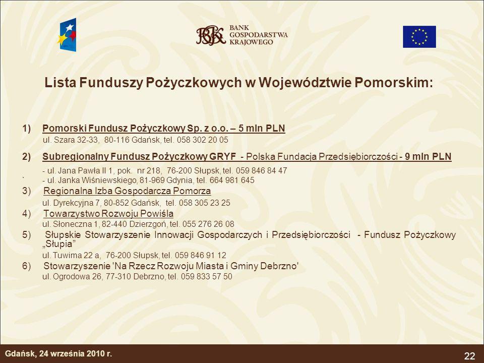 22 Gdańsk, 24 września 2010 r. Lista Funduszy Pożyczkowych w Województwie Pomorskim: 1)Pomorski Fundusz Pożyczkowy Sp. z o.o. – 5 mln PLN ul. Szara 32