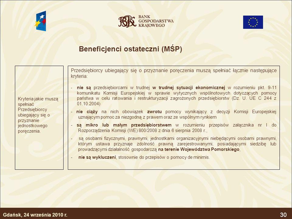 30 Beneficjenci ostateczni (MŚP) Kryteria jakie muszą spełniać Przedsiębiorcy ubiegający się o przyznanie jednostkowego poręczenia. Przedsiębiorcy ubi
