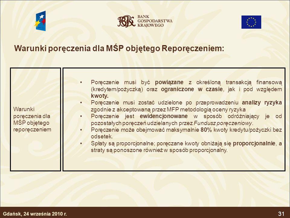 31 Warunki poręczenia dla MŚP objętego reporęczeniem Poręczenie musi być powiązane z określoną transakcją finansową (kredytem/pożyczką) oraz ograniczo