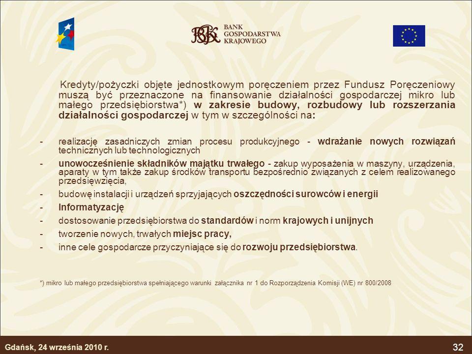 32 Kredyty/pożyczki objęte jednostkowym poręczeniem przez Fundusz Poręczeniowy muszą być przeznaczone na finansowanie działalności gospodarczej mikro