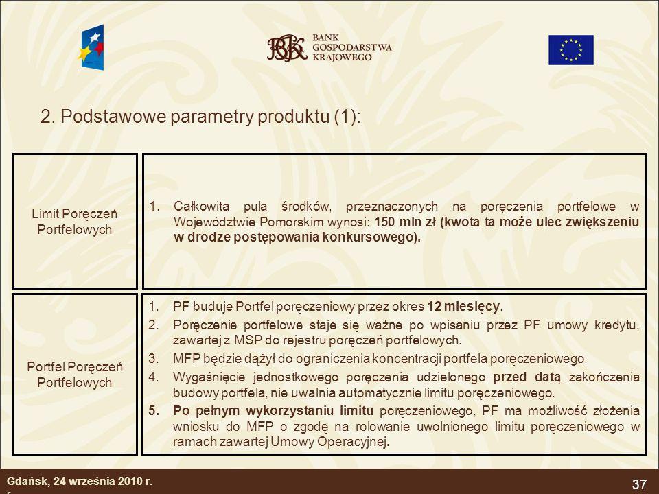 37 2. Podstawowe parametry produktu (1): Gdańsk, 24 września 2010 r. r. Limit Poręczeń Portfelowych 1.Całkowita pula środków, przeznaczonych na poręcz