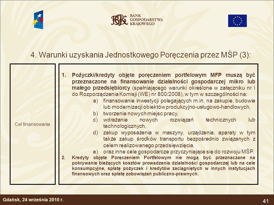 41 4. Warunki uzyskania Jednostkowego Poręczenia przez MŚP (3): Gdańsk, 24 września 2010 r. Cel finansowania 1.Pożyczki/kredyty objęte poręczeniem por