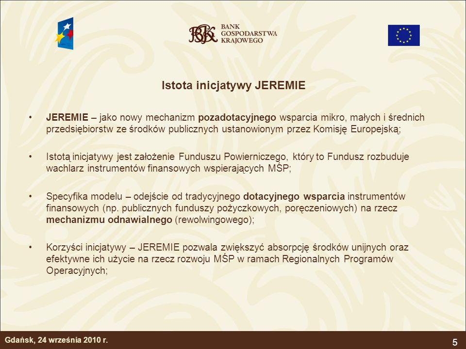 6 Kluczowe etapy inicjatywy JEREMIE Instytucja Zarządzająca (IZ) w ramach RPO wyodrębnia pulę środków na wsparcie pozadotacyjnych instrumentów finansowych dla MŚP; IZ podejmuje decyzję o wydatkowaniu ww.