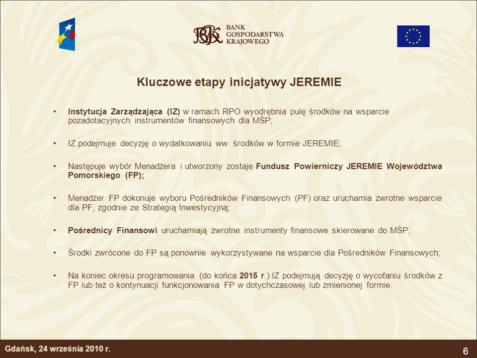 6 Kluczowe etapy inicjatywy JEREMIE Instytucja Zarządzająca (IZ) w ramach RPO wyodrębnia pulę środków na wsparcie pozadotacyjnych instrumentów finanso