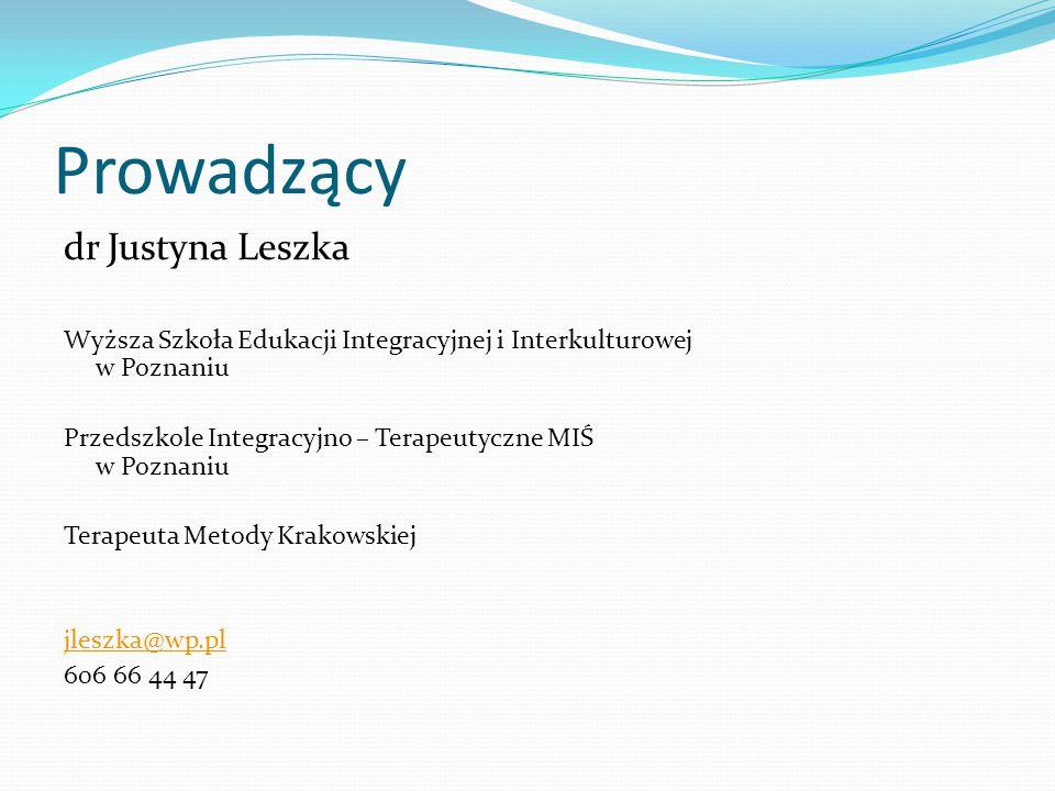 Prowadzący dr Justyna Leszka Wyższa Szkoła Edukacji Integracyjnej i Interkulturowej w Poznaniu Przedszkole Integracyjno – Terapeutyczne MIŚ w Poznaniu