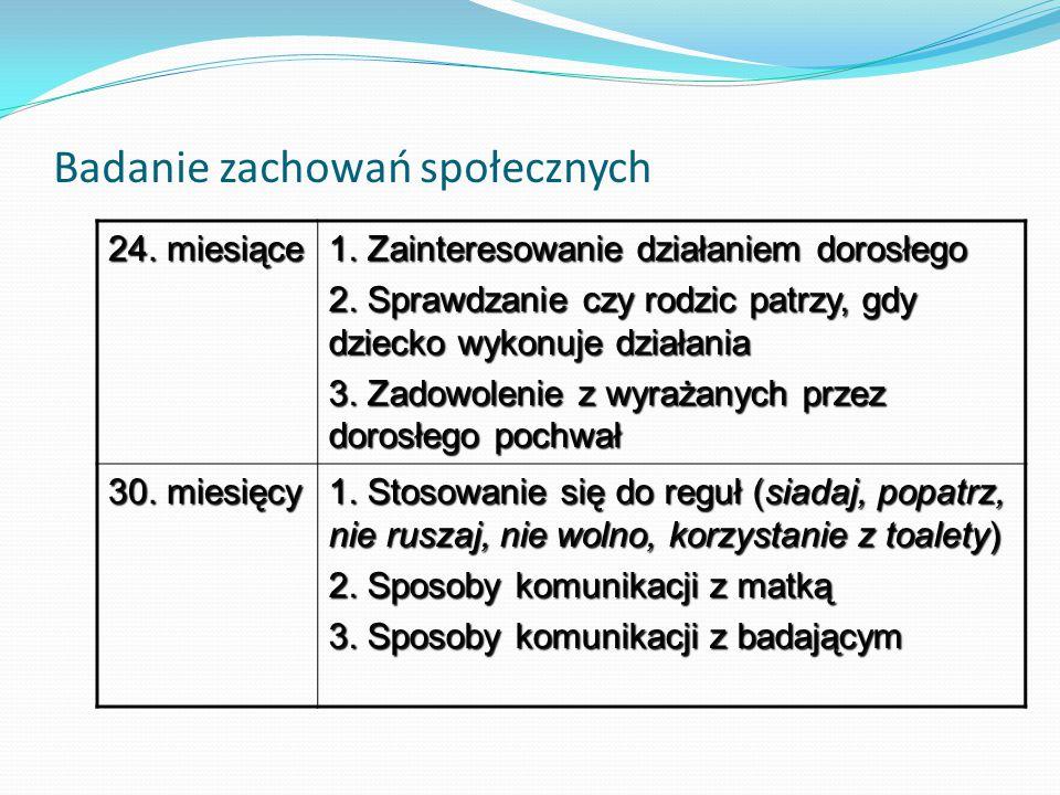 Badanie zachowań społecznych 24. miesiące 1. Zainteresowanie działaniem dorosłego 2. Sprawdzanie czy rodzic patrzy, gdy dziecko wykonuje działania 3.