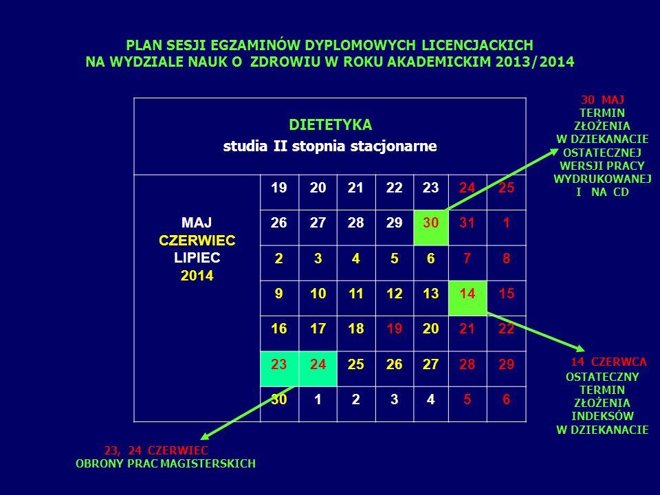 PLAN SESJI EGZAMINÓW DYPLOMOWYCH LICENCJACKICH NA WYDZIALE NAUK O ZDROWIU W ROKU AKADEMICKIM 2013/2014 10 CZERWCA OSTATECZNY TERMIN ZŁOŻENIA INDEKSÓW W DZIEKANACIE 16 CZERWIEC EGZAMIN TEORETYCZNY 17 -18 CZERWIEC EGZAMIN PRAKTYCZNY RATOWNICTWO MEDYCZNE studia I stopnia stacjonarne CZERWIEC LIPIEC 2014 1 2345678 9101112131415 16171819202122 23242526272829 30123456