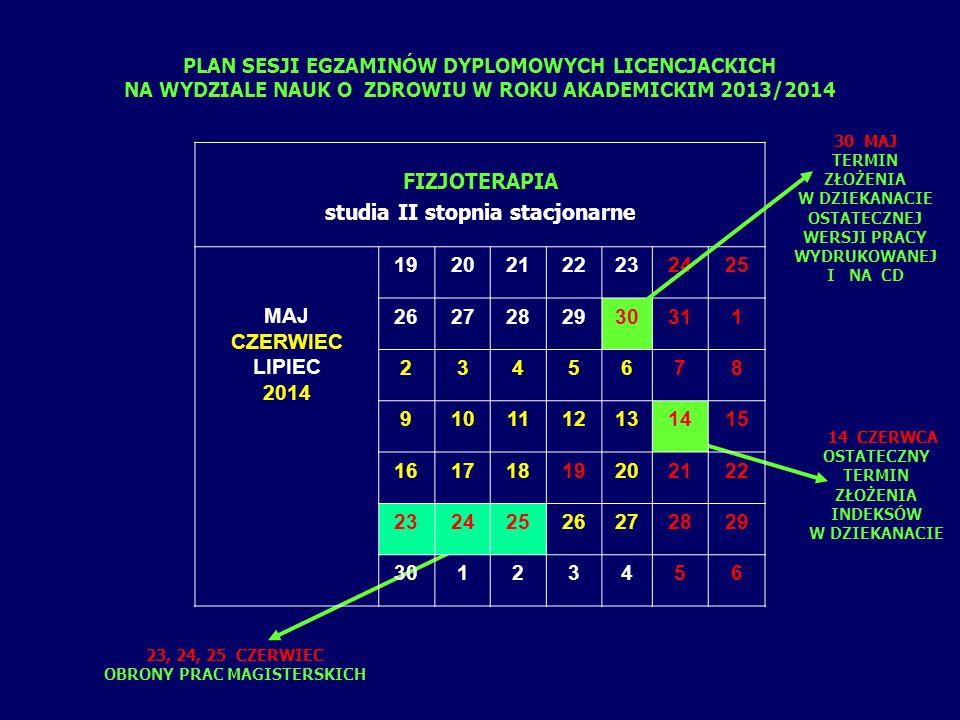 PLAN SESJI EGZAMINÓW DYPLOMOWYCH LICENCJACKICH NA WYDZIALE NAUK O ZDROWIU W ROKU AKADEMICKIM 2013/2014 10 CZERWCA OSTATECZNY TERMIN ZŁOŻENIA INDEKSÓW W DZIEKANACIE 16 CZERWIEC EGZAMIN TEORETYCZNY 17, 18 CZERWIEC EGZAMIN PRAKTYCZNY LOGOPEDIA studia I stopnia stacjonarne CZERWIEC LIPIEC 2014 1 2345678 9101112131415 16171819202122 23242526272829 30123456