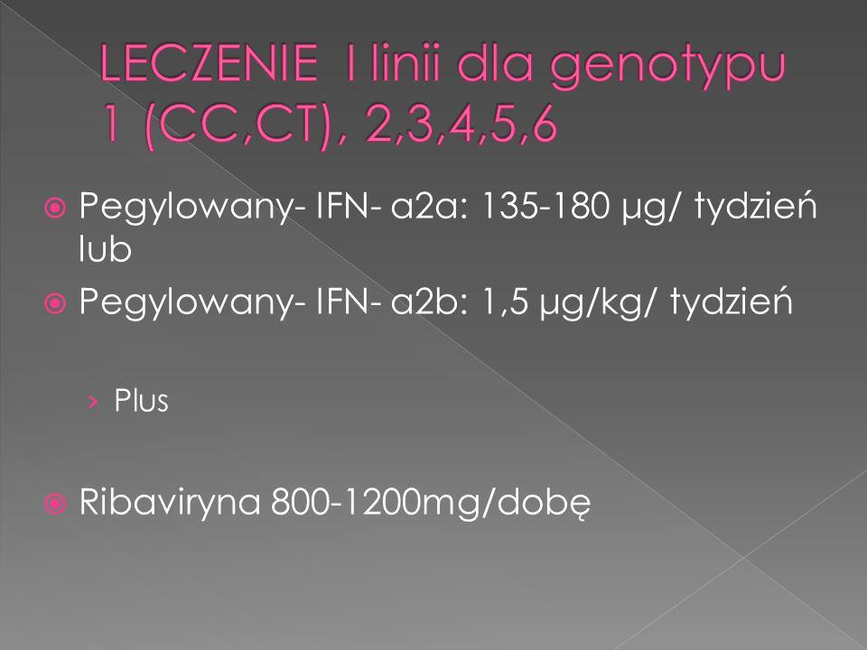  Pegylowany- IFN- α2a: 135-180 μg/ tydzień lub  Pegylowany- IFN- α2b: 1,5 μg/kg/ tydzień › Plus  Ribaviryna 800-1200mg/dobę