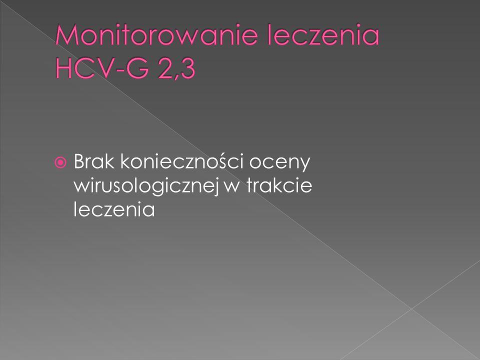  Peg IFN alfa 2a – 180 ug/ tydzień  RBV- 1200 mg /d ( 75 kg)  Po 4 tyg.