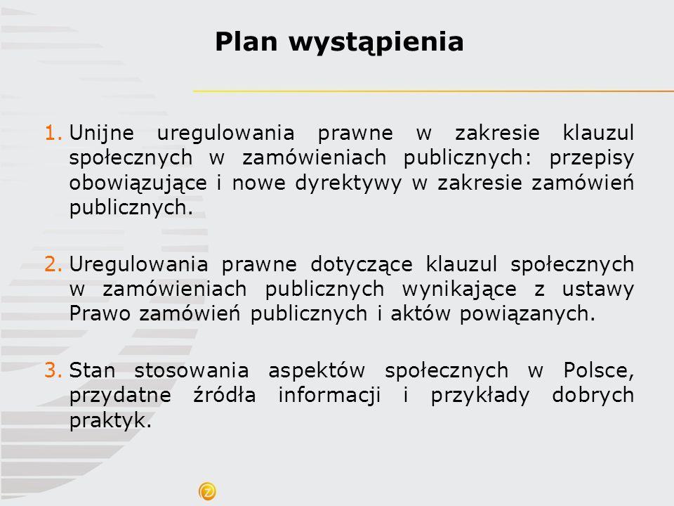 Społecznie Odpowiedzialne Zamówienia Publiczne* odnoszą się do etapów zamówień publicznych, które uwzględniają jeden lub kilka następujących aspektów: promocja godnej pracy, poszanowanie praw człowieka i prawa pracy, wsparcie społecznego włączenia (w tym osób niepełnosprawnych) ekonomia społeczna i MSP, promocja równych szans oraz zasady,,dostępny i przeznaczony dla wszystkich , włączenie zrównoważonych kryteriów wraz z uwzględnieniem kwestii uczciwego i etycznego handlu przy poszanowaniu zasad traktatowych i dyrektyw w sprawie zamówień publicznych.