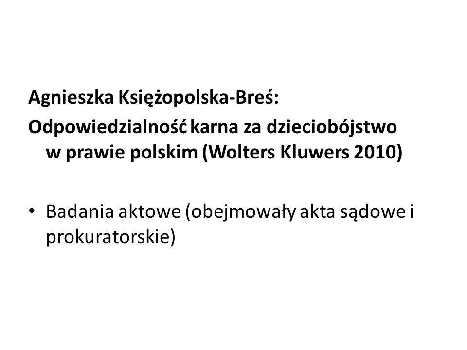 Agnieszka Księżopolska-Breś: Odpowiedzialność karna za dzieciobójstwo w prawie polskim (Wolters Kluwers 2010) Badania aktowe (obejmowały akta sądowe i