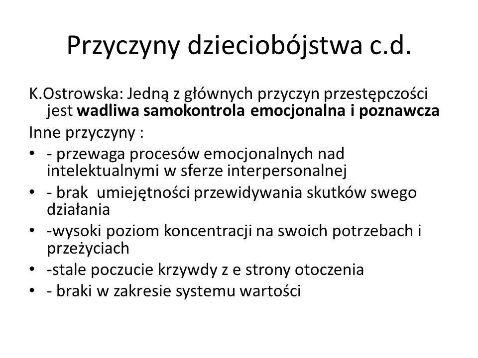 Przyczyny dzieciobójstwa c.d. K.Ostrowska: Jedną z głównych przyczyn przestępczości jest wadliwa samokontrola emocjonalna i poznawcza Inne przyczyny :