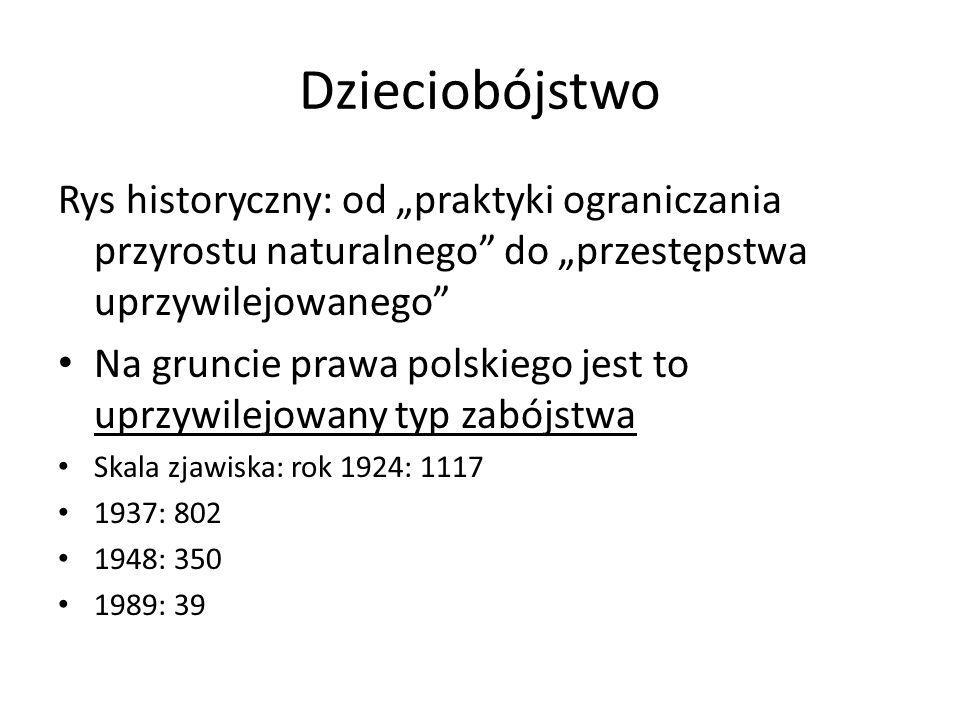 """Rys historyczny: od """"praktyki ograniczania przyrostu naturalnego"""" do """"przestępstwa uprzywilejowanego"""" Na gruncie prawa polskiego jest to uprzywilejowa"""