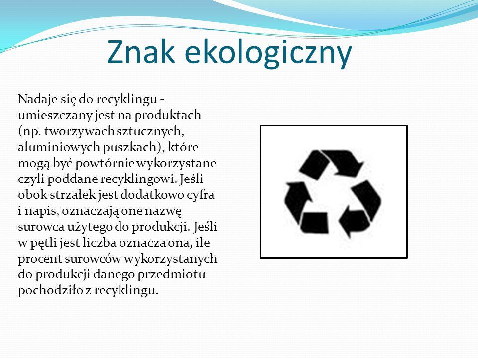 Znak ekologiczny Zielony punkt - oznacza, że producent danego opakowania wniósł za nie opłatę na rzecz krajowej organizacji odzysku opakowań (w Polsce jest to Rekopol)