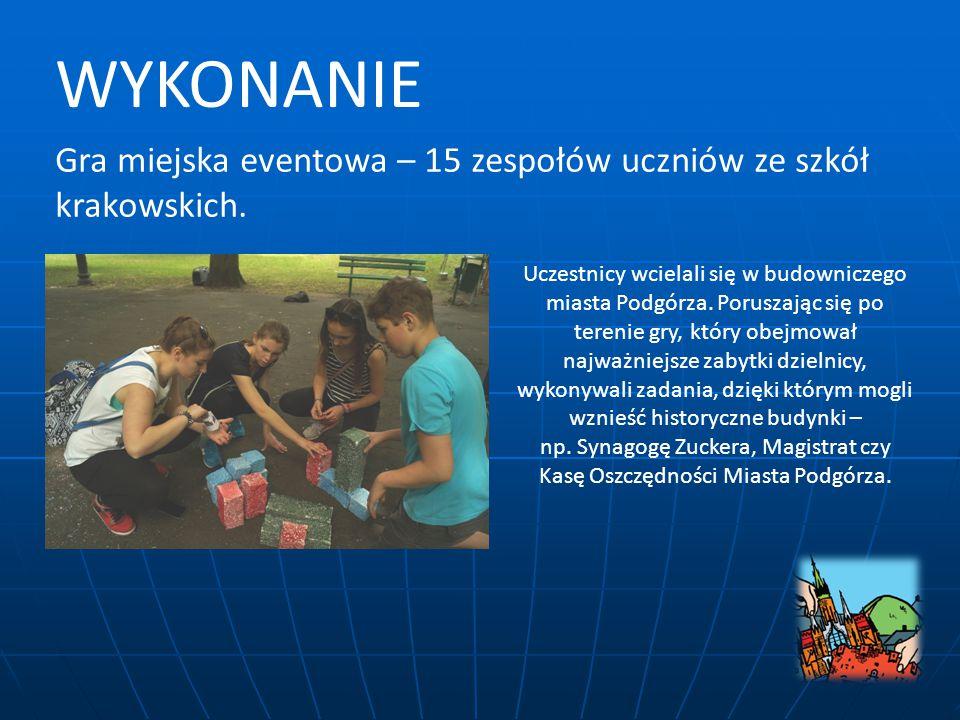 Gra miejska eventowa – 15 zespołów uczniów ze szkół krakowskich.