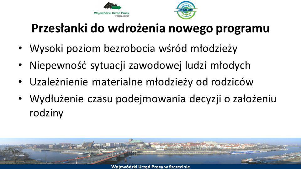 Wojewódzki Urząd Pracy w Szczecinie Przesłanki do wdrożenia nowego programu Wysoki poziom bezrobocia wśród młodzieży Niepewność sytuacji zawodowej lud