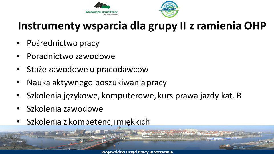 Wojewódzki Urząd Pracy w Szczecinie Instrumenty wsparcia dla grupy II z ramienia OHP Pośrednictwo pracy Poradnictwo zawodowe Staże zawodowe u pracodaw