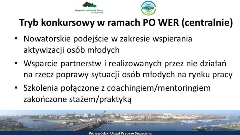 Wojewódzki Urząd Pracy w Szczecinie Tryb konkursowy w ramach PO WER (centralnie) Nowatorskie podejście w zakresie wspierania aktywizacji osób młodych
