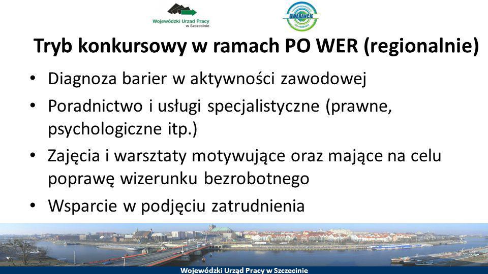 Wojewódzki Urząd Pracy w Szczecinie Tryb konkursowy w ramach PO WER (regionalnie) Diagnoza barier w aktywności zawodowej Poradnictwo i usługi specjali