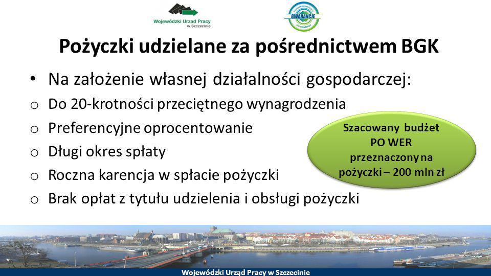 Wojewódzki Urząd Pracy w Szczecinie Pożyczki udzielane za pośrednictwem BGK Na założenie własnej działalności gospodarczej: o Do 20-krotności przecięt