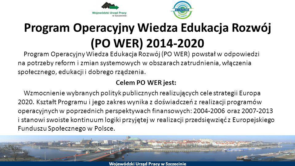 Wojewódzki Urząd Pracy w Szczecinie Program Operacyjny Wiedza Edukacja Rozwój (PO WER) 2014-2020 Priorytet Inwestycyjny 8.6 Poprawa sytuacji osób młodych do 24 r.