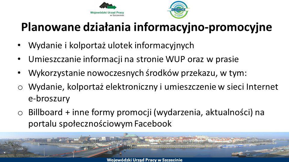 Wojewódzki Urząd Pracy w Szczecinie Planowane działania informacyjno-promocyjne Wydanie i kolportaż ulotek informacyjnych Umieszczanie informacji na s