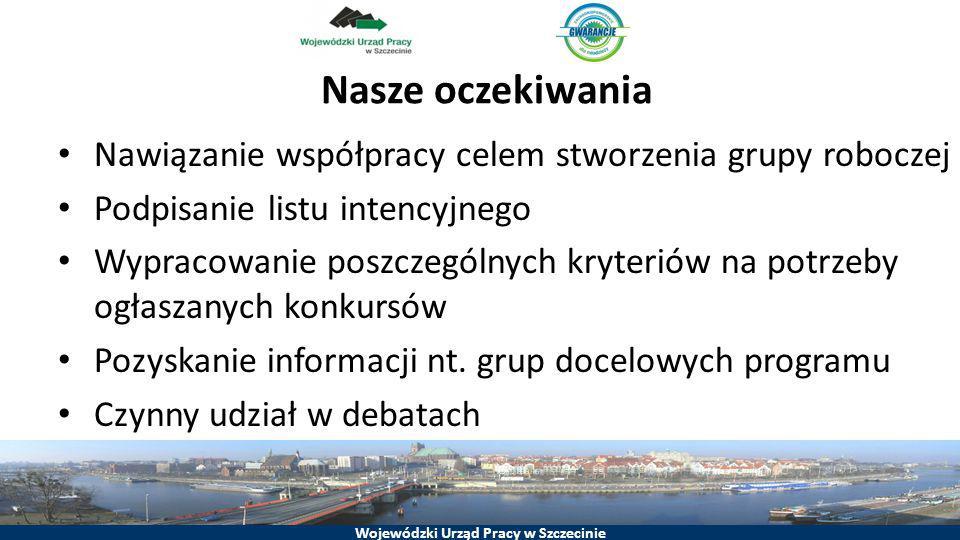 Wojewódzki Urząd Pracy w Szczecinie Nasze oczekiwania Nawiązanie współpracy celem stworzenia grupy roboczej Podpisanie listu intencyjnego Wypracowanie