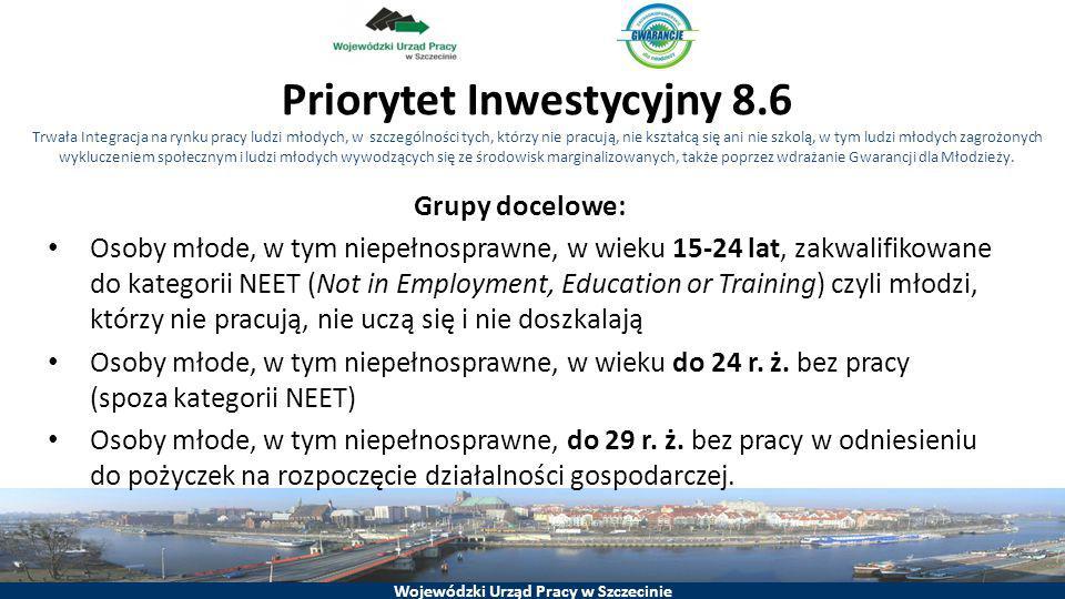 Wojewódzki Urząd Pracy w Szczecinie Grupy docelowe: Osoby młode, w tym niepełnosprawne, w wieku 15-24 lat, zakwalifikowane do kategorii NEET (Not in E
