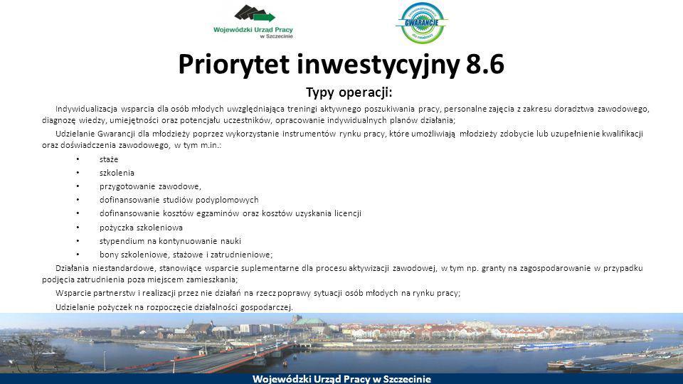 Wojewódzki Urząd Pracy w Szczecinie Priorytet inwestycyjny 8.6 Typy operacji: Indywidualizacja wsparcia dla osób młodych uwzględniająca treningi aktyw