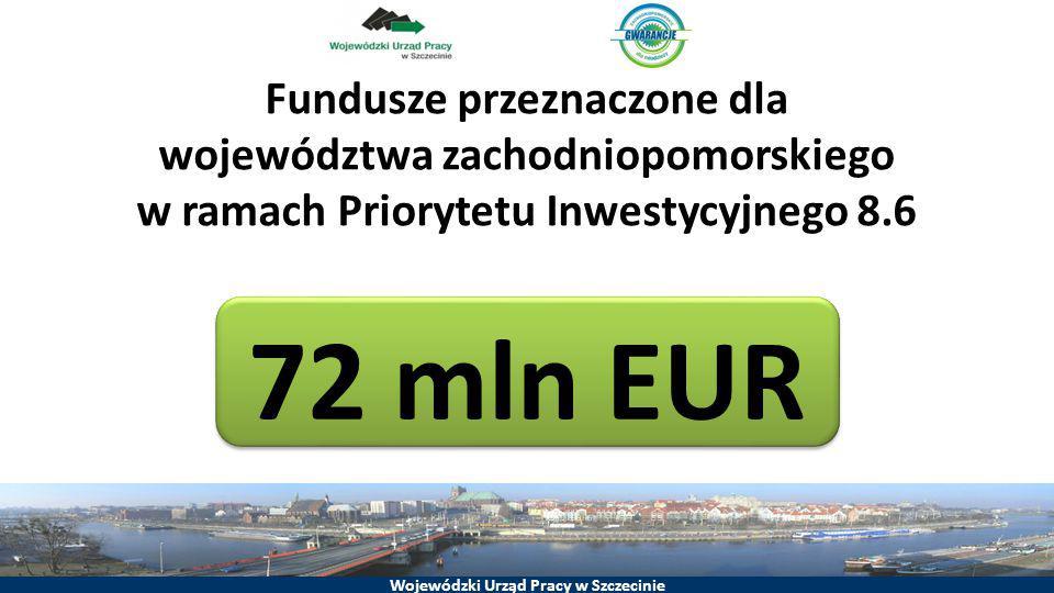 Wojewódzki Urząd Pracy w Szczecinie Fundusze przeznaczone dla województwa zachodniopomorskiego w ramach Priorytetu Inwestycyjnego 8.6 72 mln EUR