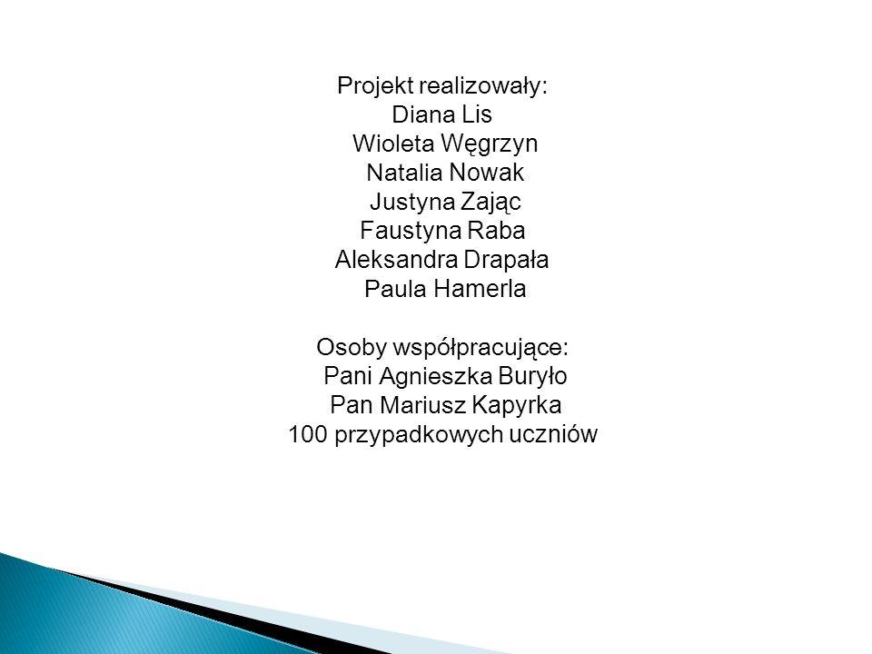 Projekt realizowały: Diana Lis Wioleta Węgrzyn Natalia Nowak Justyna Zając Faustyna Raba Aleksandra Drapała Paula Hamerla Osoby współpracujące: Pani A