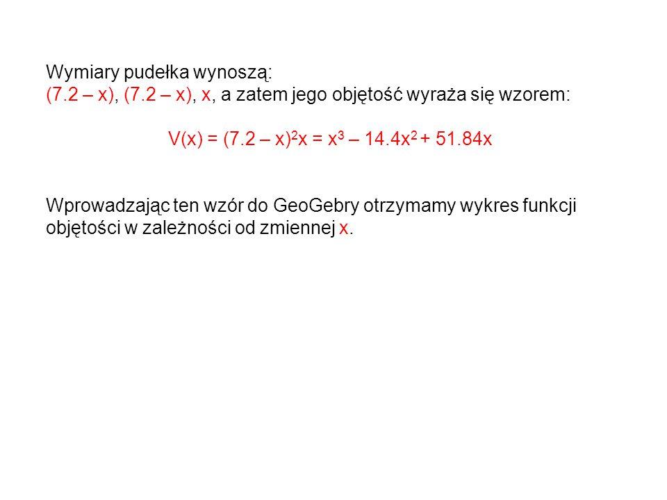 Wymiary pudełka wynoszą: (7.2 – x), (7.2 – x), x, a zatem jego objętość wyraża się wzorem: V(x) = (7.2 – x) 2 x = x 3 – 14.4x 2 + 51.84x Wprowadzając ten wzór do GeoGebry otrzymamy wykres funkcji objętości w zależności od zmiennej x.