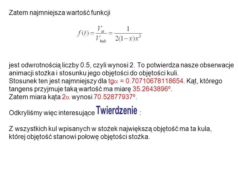 Zatem najmniejsza wartość funkcji jest odwrotnością liczby 0.5, czyli wynosi 2. To potwierdza nasze obserwacje animacji stożka i stosunku jego objętoś