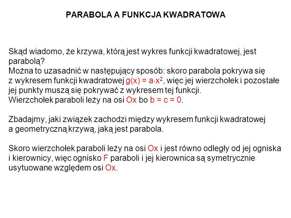 PARABOLA A FUNKCJA KWADRATOWA Skąd wiadomo, że krzywa, którą jest wykres funkcji kwadratowej, jest parabolą? Można to uzasadnić w następujący sposób: