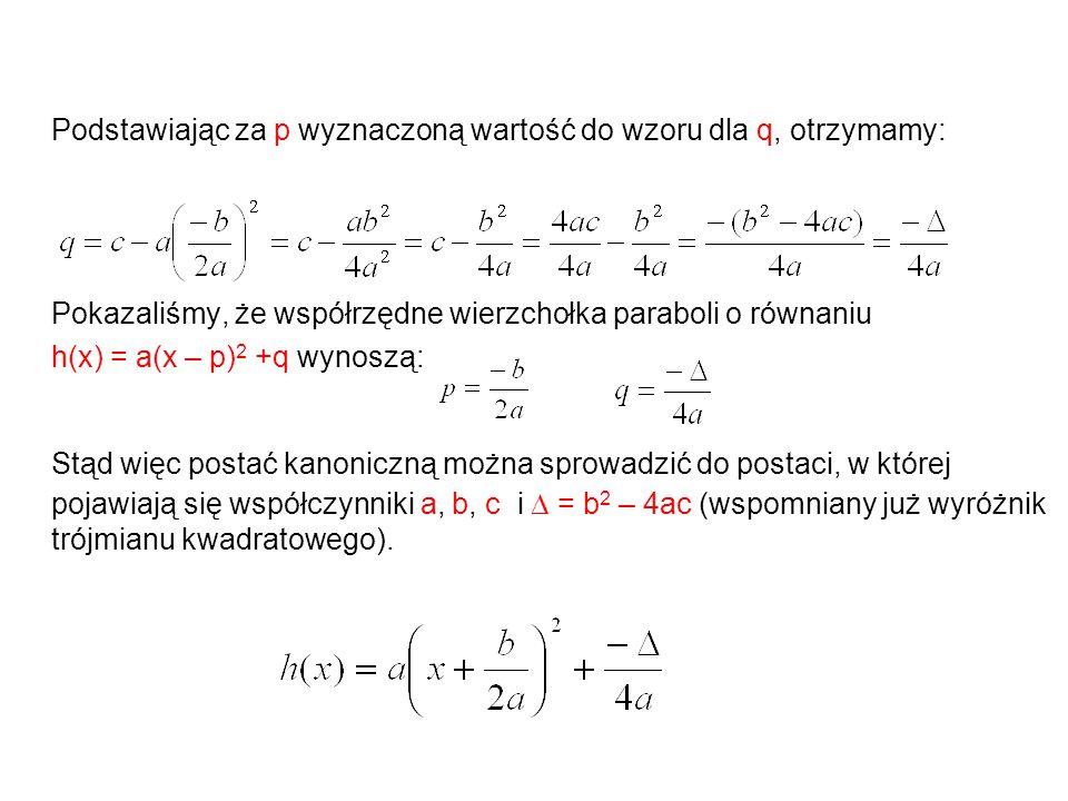 Podstawiając za p wyznaczoną wartość do wzoru dla q, otrzymamy: Pokazaliśmy, że współrzędne wierzchołka paraboli o równaniu h(x) = a(x – p) 2 +q wynoszą: Stąd więc postać kanoniczną można sprowadzić do postaci, w której pojawiają się współczynniki a, b, c i  = b 2 – 4ac (wspomniany już wyróżnik trójmianu kwadratowego).