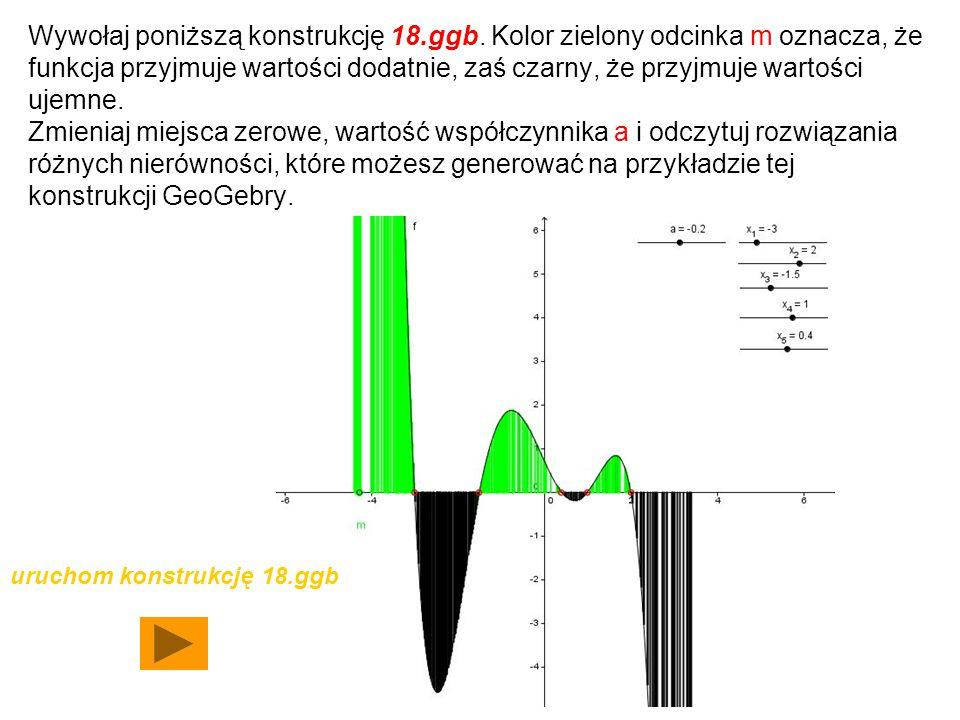 Wywołaj poniższą konstrukcję 18.ggb. Kolor zielony odcinka m oznacza, że funkcja przyjmuje wartości dodatnie, zaś czarny, że przyjmuje wartości ujemne