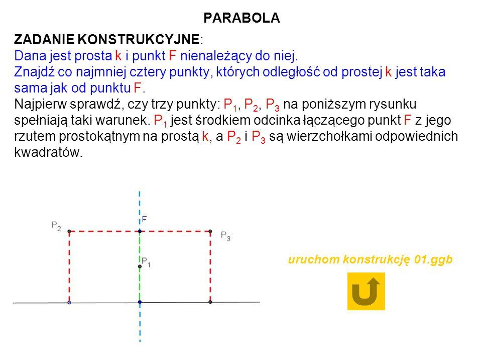 PARABOLA ZADANIE KONSTRUKCYJNE: Dana jest prosta k i punkt F nienależący do niej. Znajdź co najmniej cztery punkty, których odległość od prostej k jes