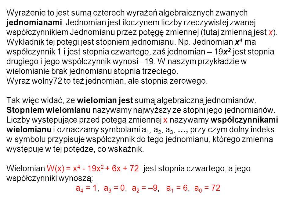 Wyrażenie to jest sumą czterech wyrażeń algebraicznych zwanych jednomianami. Jednomian jest iloczynem liczby rzeczywistej zwanej współczynnikiem Jedno