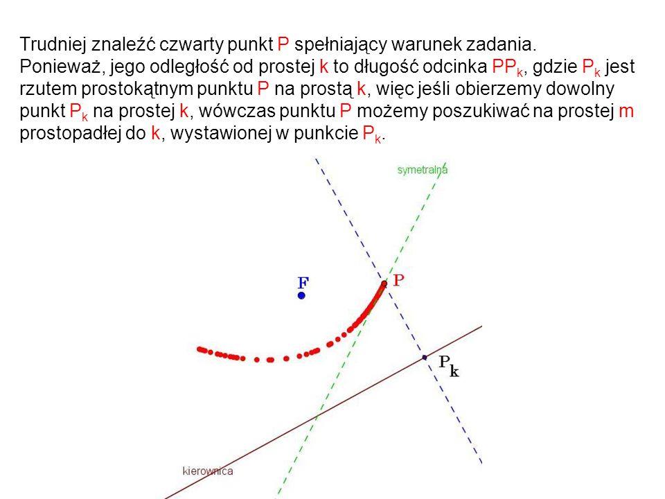 Trudniej znaleźć czwarty punkt P spełniający warunek zadania. Ponieważ, jego odległość od prostej k to długość odcinka PP k, gdzie P k jest rzutem pro