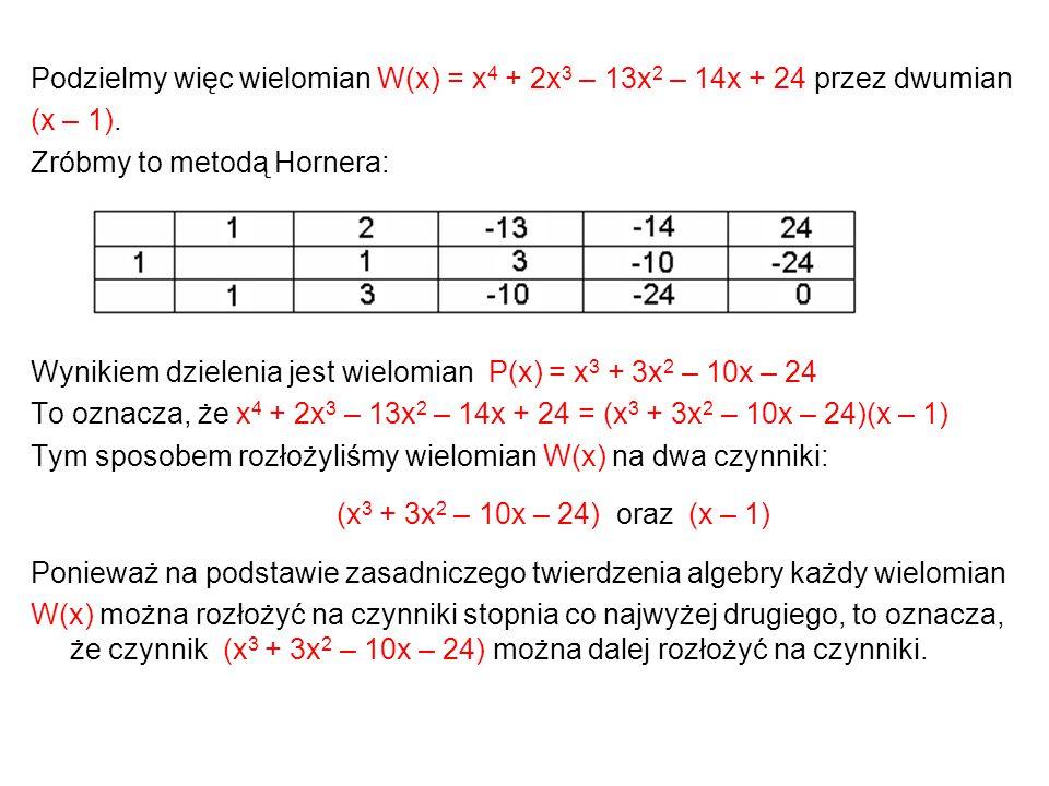 Podzielmy więc wielomian W(x) = x 4 + 2x 3 – 13x 2 – 14x + 24 przez dwumian (x – 1). Zróbmy to metodą Hornera: Wynikiem dzielenia jest wielomian P(x)