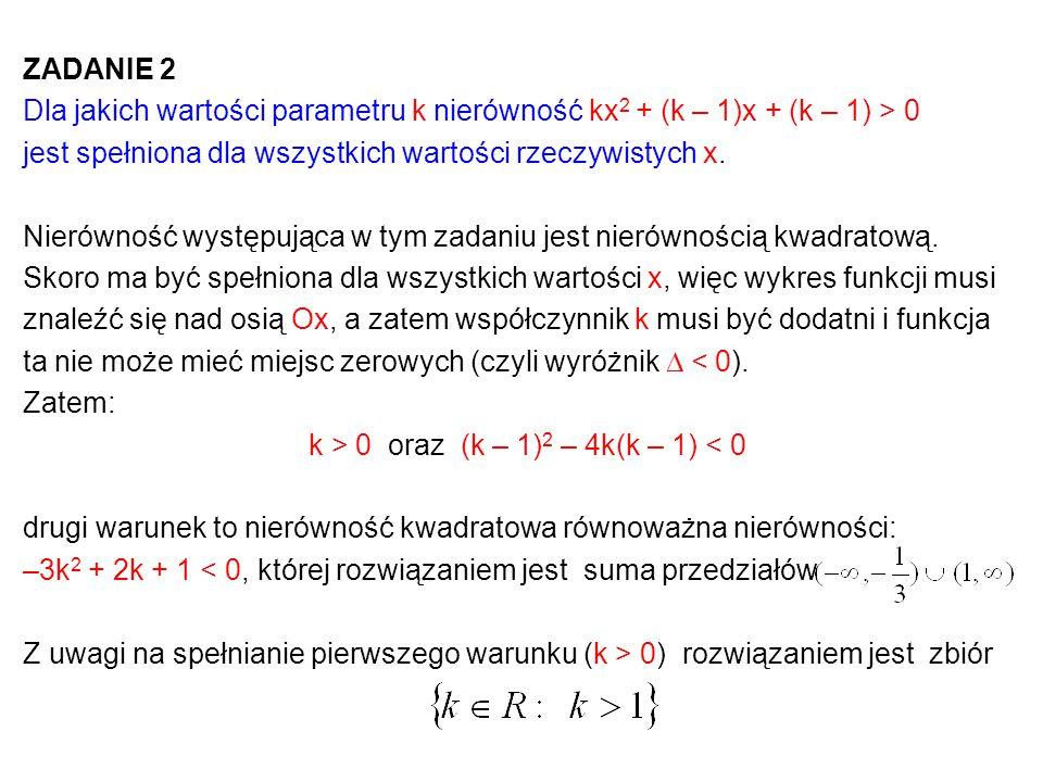 ZADANIE 2 Dla jakich wartości parametru k nierówność kx 2 + (k – 1)x + (k – 1) > 0 jest spełniona dla wszystkich wartości rzeczywistych x. Nierówność