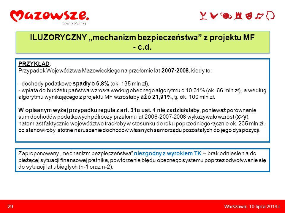 """Warszawa, 10 lipca 2014 r. 29 ILUZORYCZNY """"mechanizm bezpieczeństwa z projektu MF - c.d."""