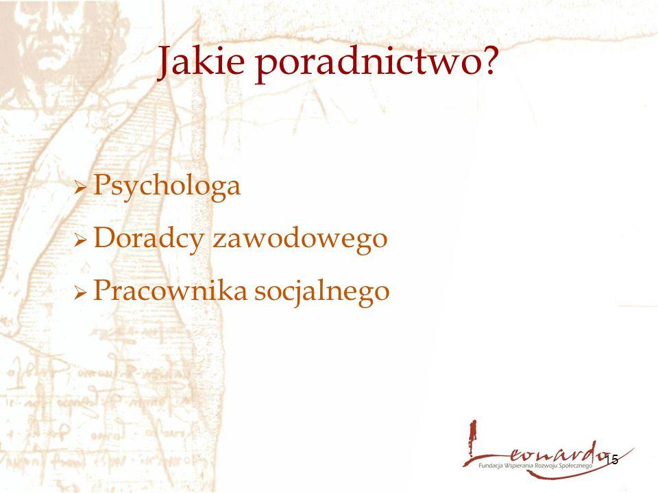 15 Jakie poradnictwo?  Psychologa  Doradcy zawodowego  Pracownika socjalnego
