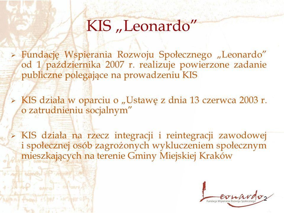 """2 KIS """"Leonardo""""  Fundację Wspierania Rozwoju Społecznego """"Leonardo"""" od 1 października 2007 r. realizuje powierzone zadanie publiczne polegające na p"""