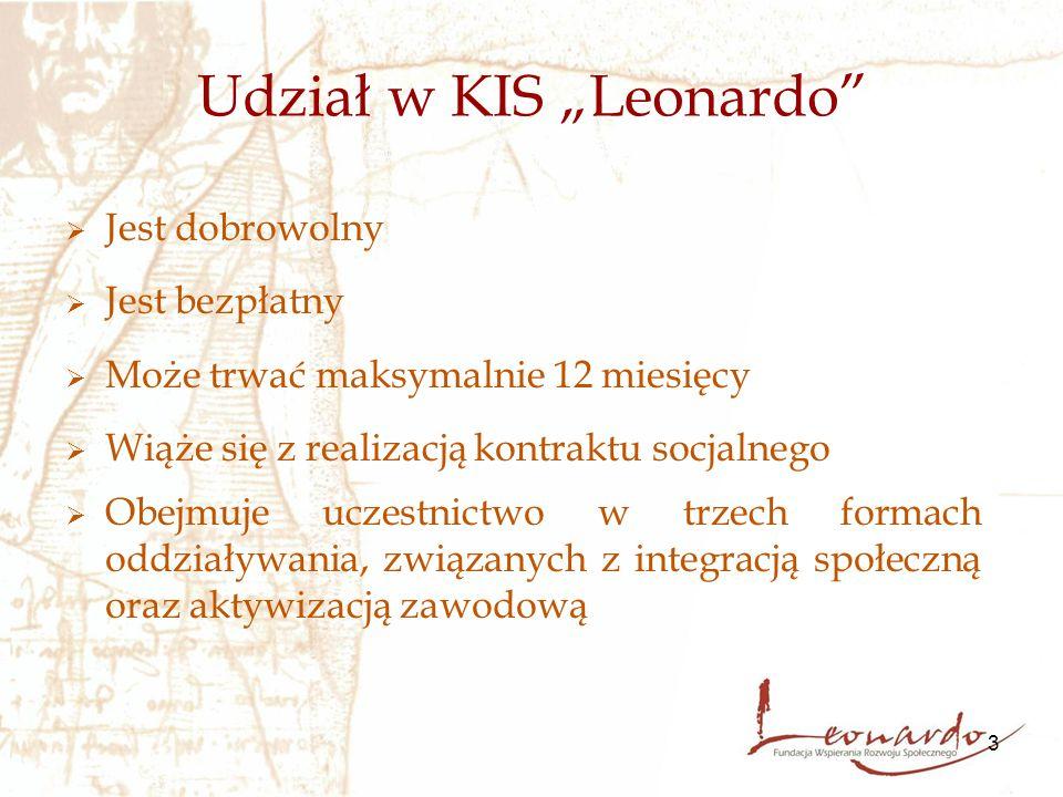 """3 Udział w KIS """"Leonardo  Jest dobrowolny  Jest bezpłatny  Może trwać maksymalnie 12 miesięcy  Wiąże się z realizacją kontraktu socjalnego  Obejmuje uczestnictwo w trzech formach oddziaływania, związanych z integracją społeczną oraz aktywizacją zawodową"""